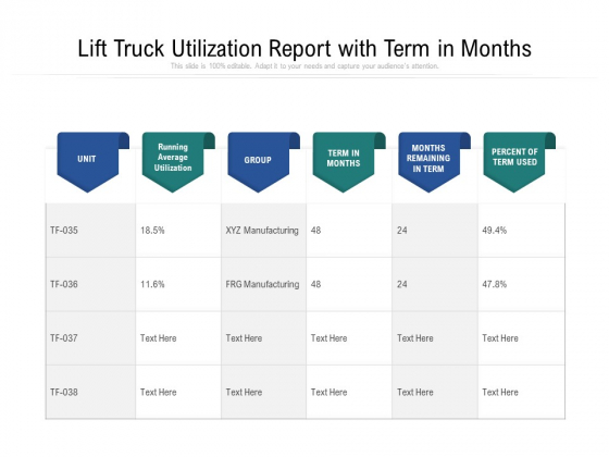 Lift Truck Utilization Report With Term In Months Ppt PowerPoint Presentation Gallery Graphics Template PDF