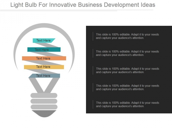 Light Bulb For Innovative Business Development Ideas 2017 Ppt PowerPoint Presentation Guidelines