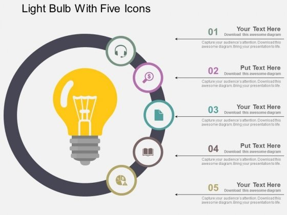 Light Bulb With Five Icons Powerpoint Templates