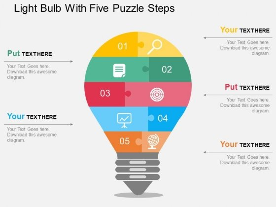 Light Bulb With Five Puzzle Steps Powerpoint Templates