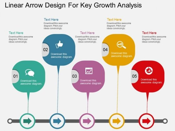 Linear Arrow Design For Key Growth Analysis Powerpoint Template