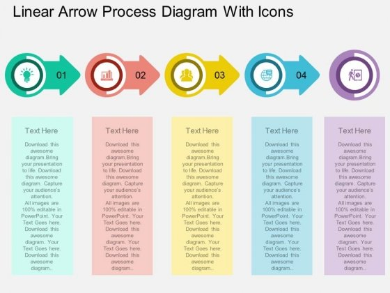 Linear Arrow Process Diagram With Icons Powerpoint Template