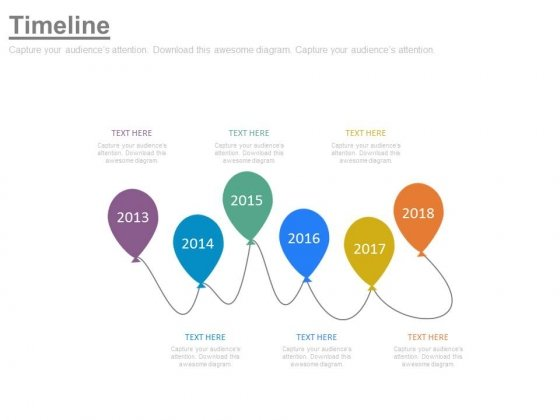 Linear Balloons Timeline Diagram With Years Powerpoint Slides