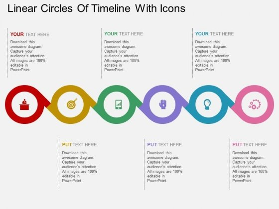 Linear Circles Of Timeline With Icons Powerpoint Template