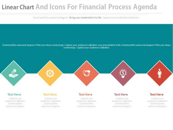 Linear Diamond Chart With Icons For Financial Progress Powerpoint Template