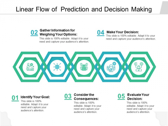 Linear Flow Of Prediction And Decision Making Ppt PowerPoint Presentation Gallery Example PDF
