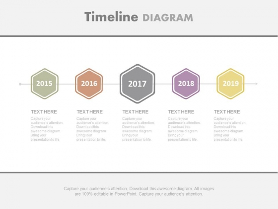 Linear Hexagons Years Based Timeline Powerpoint Slides