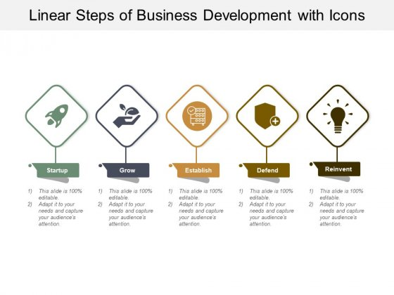 Linear Steps Of Business Development With Icons Ppt PowerPoint Presentation Show Visuals
