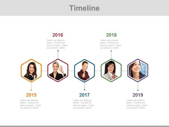 Linear Timeline Diagram With Employee Pictures Powerpoint Slides