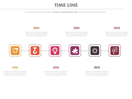 Linear Timeline Steps For Year Based Analysis Powerpoint Slides