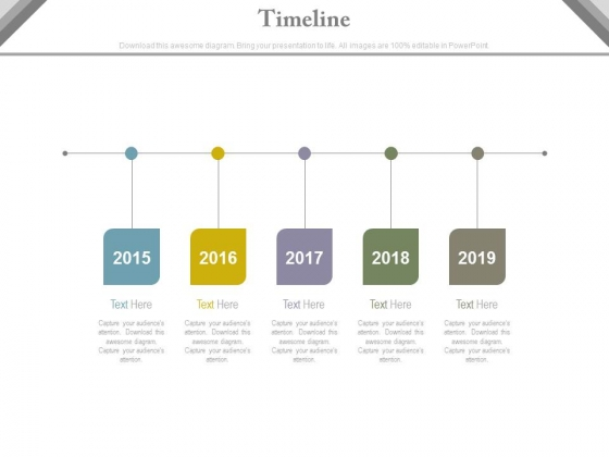 Linear Timeline Steps With Years Powerpoint Slides