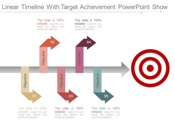 Linear Timeline With Target Achievement Powerpoint Show
