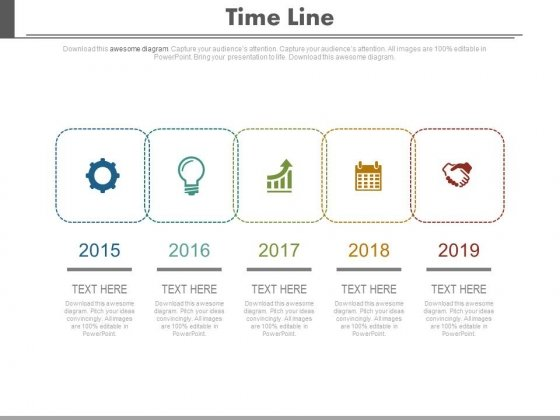 Linear Timeline With Year And Business Icons Powerpoint Slides