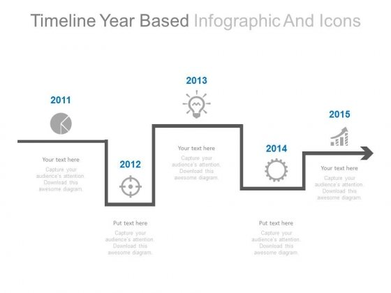 Linear Timeline Year Based Infographic Powerpoint Slides