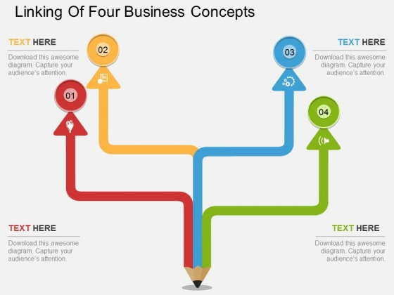 Linking Of Four Business Concepts Powerpoint Template