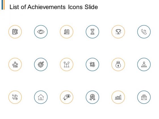 List Of Achievements Icons Slide Arrow Ppt PowerPoint Presentation Summary Show