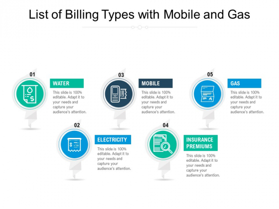 List Of Billing Types With Mobile And Gas Ppt PowerPoint Presentation Outline Tips PDF