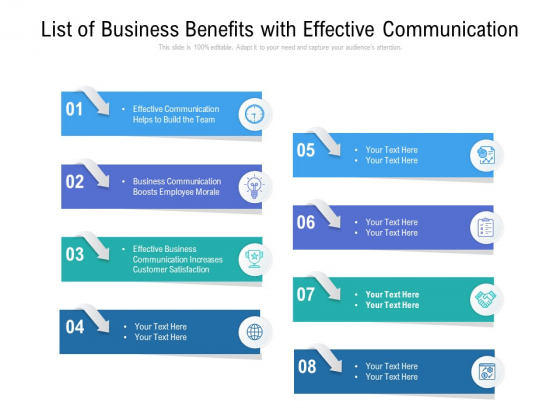 List Of Business Benefits With Effective Communication Ppt PowerPoint Presentation Styles Tips