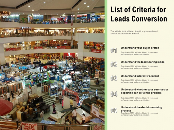 List Of Criteria For Leads Conversion Ppt PowerPoint Presentation Gallery Inspiration PDF