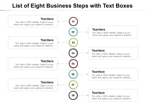 List Of Eight Business Steps With Text Boxes Ppt PowerPoint Presentation Summary
