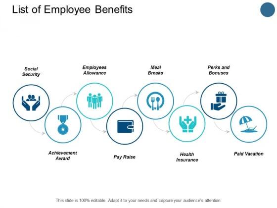 List Of Employee Benefits Slide Paid Vacation Ppt PowerPoint Presentation Portfolio Background Designs