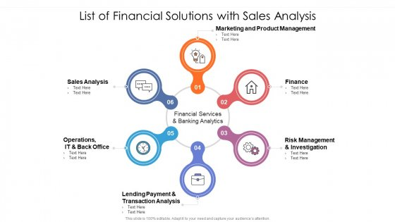 List Of Financial Solutions With Sales Analysis Ppt PowerPoint Presentation Gallery Slides PDF