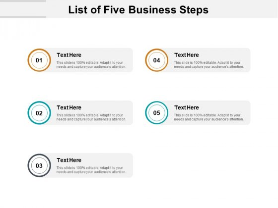 List Of Five Business Steps Ppt PowerPoint Presentation Summary Format