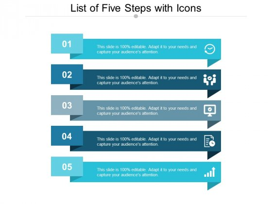 List Of Five Steps With Icons Ppt Powerpoint Presentation Styles Introduction