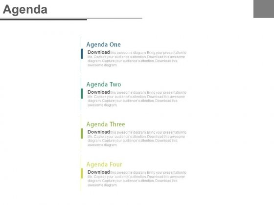 List Of Four Marketing Agenda Points Powerpoint Slides
