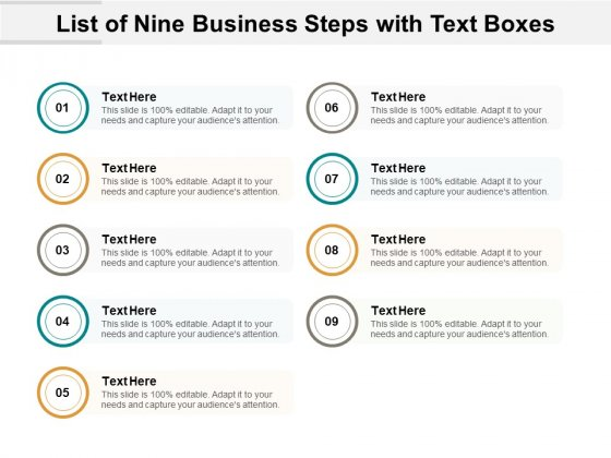 List Of Nine Business Steps With Text Boxes Ppt PowerPoint Presentation Summary Shapes