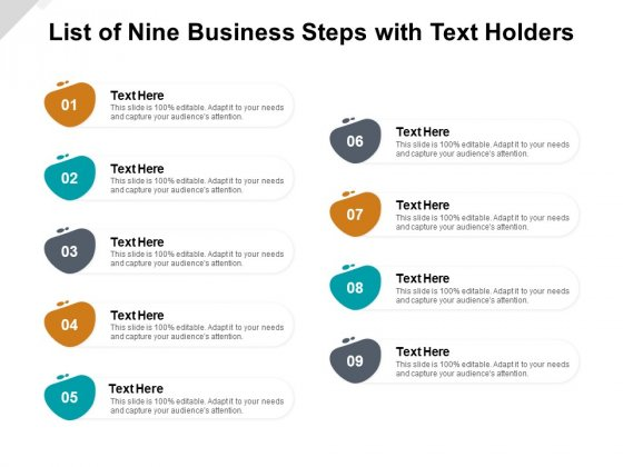 List Of Nine Business Steps With Text Holders Ppt PowerPoint Presentation Slides Brochure