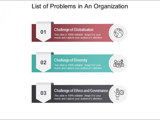 List Of Problems In An Organization Ppt PowerPoint Presentation Portfolio Clipart Images