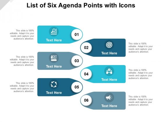 List Of Six Agenda Points With Icons Ppt PowerPoint Presentation Infographic Template Example Introduction