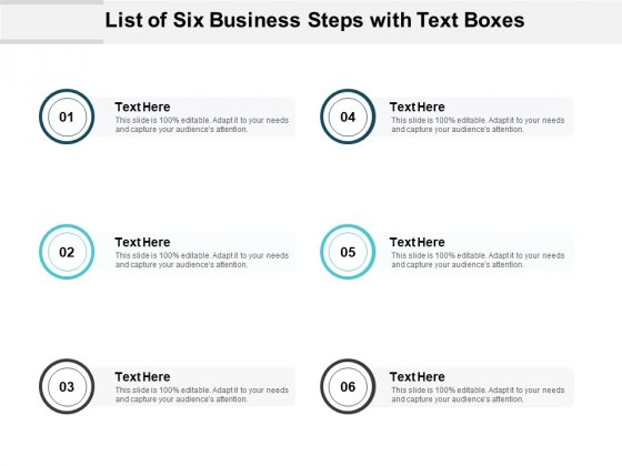 List Of Six Business Steps With Text Boxes Ppt PowerPoint Presentation Visual Aids Summary