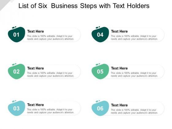 List Of Six Business Steps With Text Holders Ppt PowerPoint Presentation Styles Icons