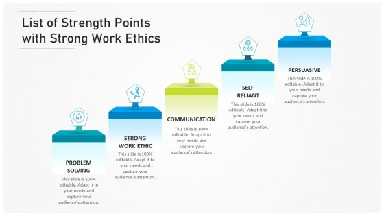 List Of Strength Points With Strong Work Ethics Ppt PowerPoint Presentation Gallery Files PDF