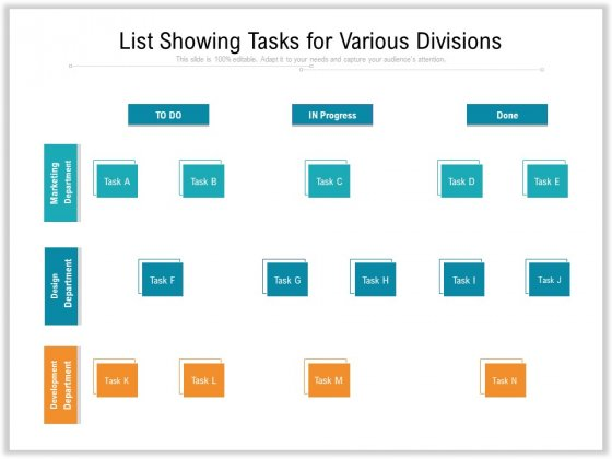 List Showing Tasks For Various Divisions Ppt PowerPoint Presentation Ideas Information PDF