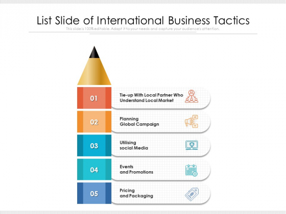 List Slide Of International Business Tactics Ppt PowerPoint Presentation Gallery Designs Download PDF