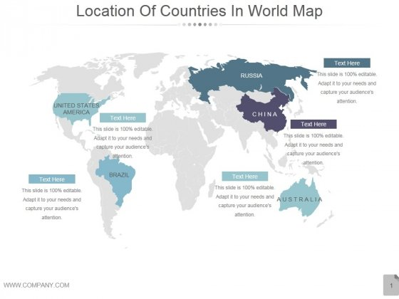Location Of Countries In World Map Ppt PowerPoint Presentation Rules