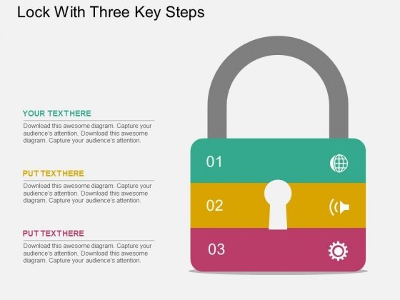 Lock With Three Key Steps Powerpoint Templates