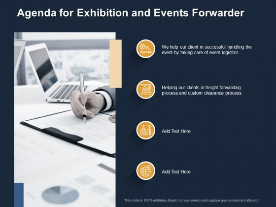 Logistics Events Agenda For Exhibition And Events Forwarder Ppt Model Guide PDF
