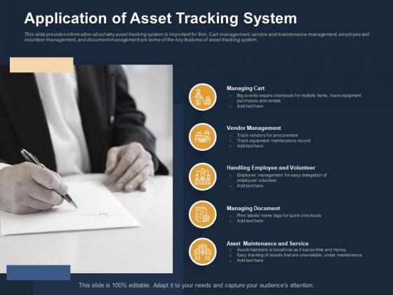Logistics Events Application Of Asset Tracking System Ppt Inspiration Background PDF