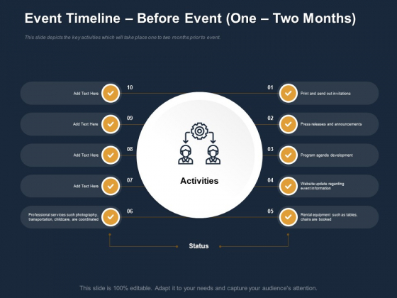 Logistics Events Event Timeline Before Event One Two Months Ppt Pictures Designs Download PDF