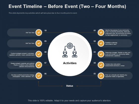 Logistics Events Event Timeline Before Event Two Four Months Ppt Layouts Themes PDF