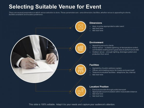 Logistics Events Selecting Suitable Venue For Event Ppt Styles Summary PDF