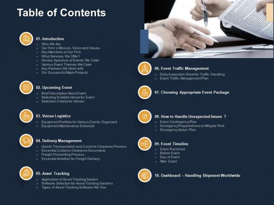 Logistics Events Table Of Contents Ppt Slides Background Image PDF