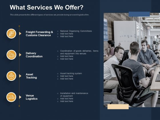 Logistics Events What Services We Offer Ppt Infographic Template Example File