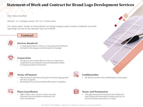 Logo Design Statement Of Work And Contract For Brand Logo Development Services Icons PDF