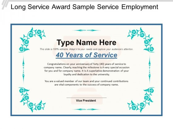Long Service Award Sample Service Employment Ppt PowerPoint Presentation Pictures Background Images