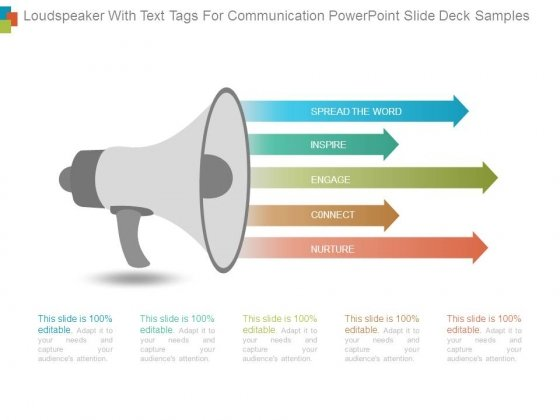 Loudspeaker With Text Tags For Communication Powerpoint Slide Deck Samples